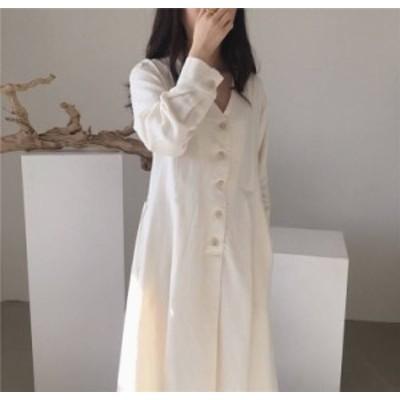 オルチャン 韓国 ファッション レディース ワンピース ワンピ ロング Vネック ゆったり フレア 長袖 無地 大人可愛い シンプル