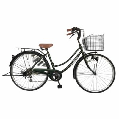 次回入荷未定 自転車 26インチ ママチャリ 外装6段変速ギア シティサイクル 変速 ダークグリーン 緑 かわいい dixhuit