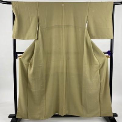 小紋 美品 名品 一つ紋 草花 抹茶色 袷 身丈159cm 裄丈66.5cm M 正絹 中古