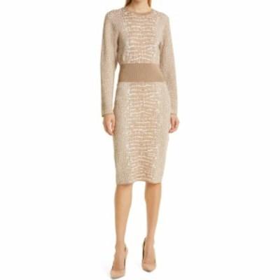 ヒューゴ ボス BOSS レディース ワンピース ワンピース・ドレス Feyine Crocodile Print Long Sleeve Dress Beige Fantasy