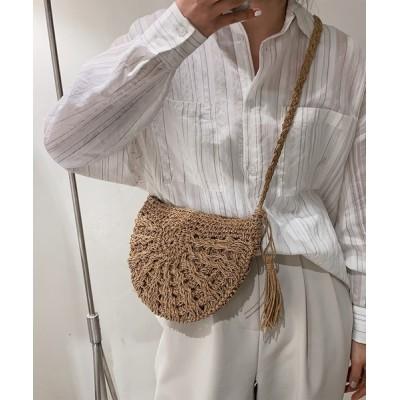 FRP / 同素材タッセル編み柄ラウンドショルダーバッグ WOMEN バッグ > ショルダーバッグ