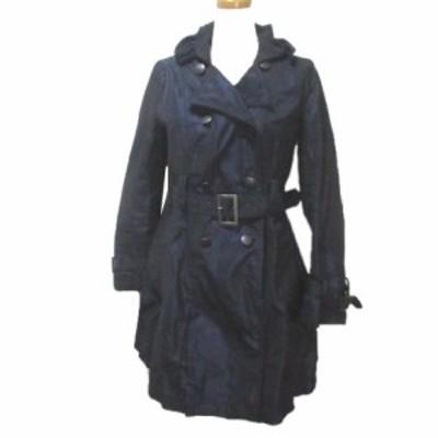 【中古】キャサリンハーネル Catherine Harnel コート  襟ワイヤー 紺 ネイビー 36 Sサイズ相当 ベルト ミドル丈 X レディース