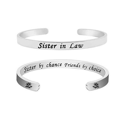 Beeshion Sister in Law Bracelet Sister in Law Gift Stainless Steel Cuff Ban