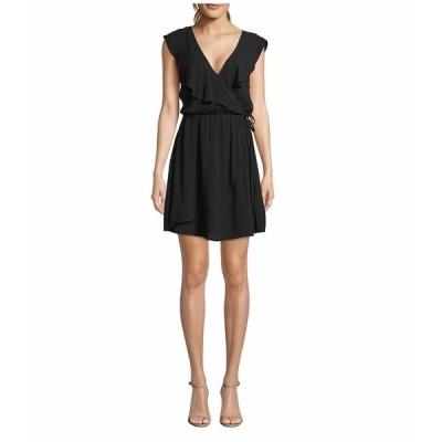 ビービーダコタ ワンピース トップス レディース Crinkle Rayon Faux Wrap Dress Black