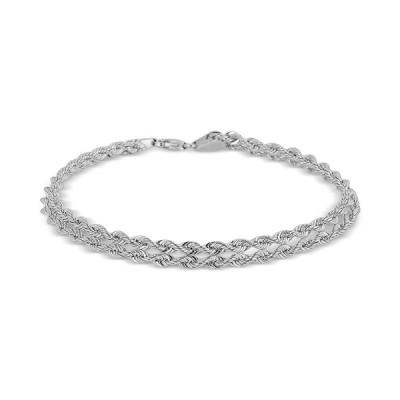 """イタリアン ゴールド ブレスレット・バングル・アンクレット アクセサリー レディース Twisted Rope """"Heart"""" Link Bracelet in 14k White Gold White Gold"""
