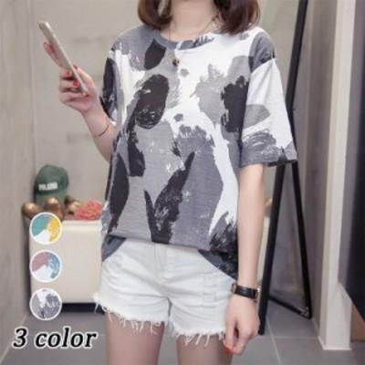 Tシャツ レディース きれいめ 40代 春夏 上品 半袖Tシャツ ブラウス 綿 配色トップス オシャレ 韓国風 ゆったりカットソー 大きいサイズ
