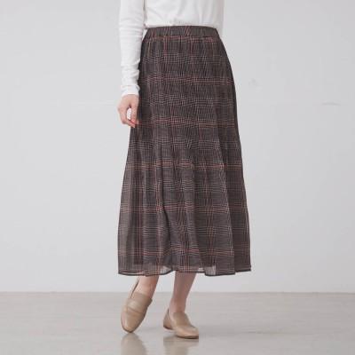 すっきり見えプリーツのチェックプリントスカート(花笑むとき/hana emu toki)