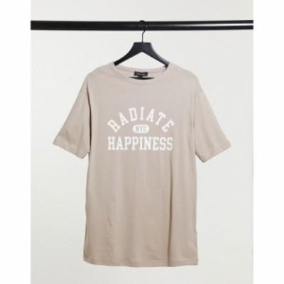 ニュールック New Look レディース Tシャツ トップス Radiate Happiness Varsity Boyfriend T-Shirt In Mink ライトブラウン
