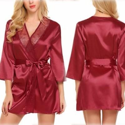 3ピース/セット女性セクシーランジェリーレースディープVバスローブナイトウェアパジャマエロパジャマセクシーな衣装