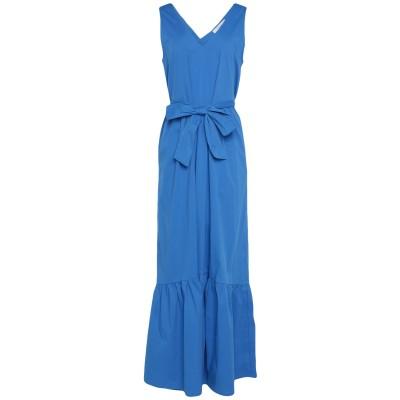 SUOLI ロングワンピース&ドレス アジュールブルー 42 コットン 68% / ナイロン 29% / ポリウレタン 3% ロングワンピース&ドレス