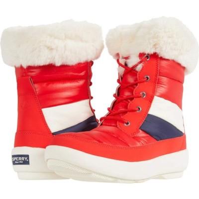 スペリートップサイダー Sperry レディース ブーツ シューズ・靴 Bearing PlushWave Boots Nautical Stripe Nylon Red