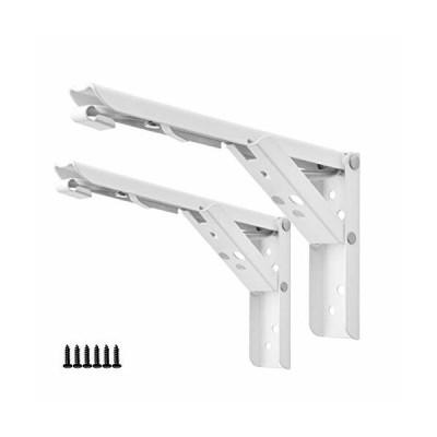 LUCKYBEE 棚受け金具L字型 折りたたみ式 2本 棚受け ブラケット L字型 かべかけ アイアン ステンレス 棚支え (ホ