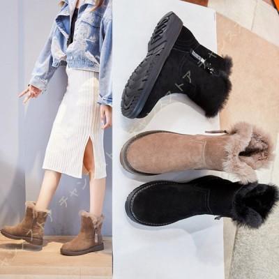 ショートブーツ レディース フラット ふわふわ 秋冬 防寒 低反発 ショートブーツ もこもこ レディース ファー スエード 旅行 消臭 雪用 はっ水 防水ブーツ