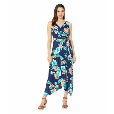 ドナモーガン レディース ワンピース トップス Sleeveless Floral Print Matte Jersey Dress Navy/Yellow Multi