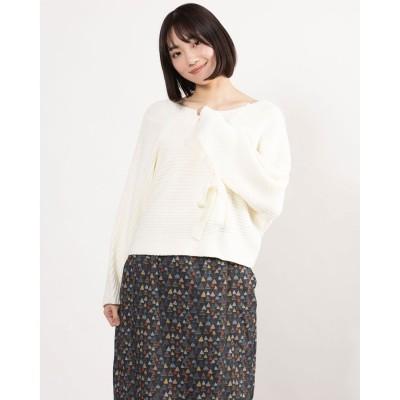 リネーム Rename 袖リボンデザイン横編みニット (ホワイト)