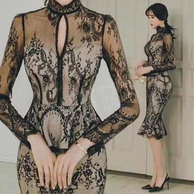 セクシー透し彫レース エレガント マーメイドライン ブライダル ワンピース 着痩せ 細身 姫系 パーティードレス ショートドレス 結婚式 2