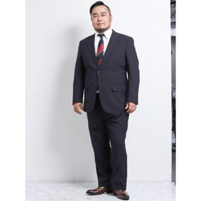 【大きいサイズ】グランバック/GRAND-BACK トラベスト/TRABEST 2釦2ピーススーツ 紺ウィンドペン
