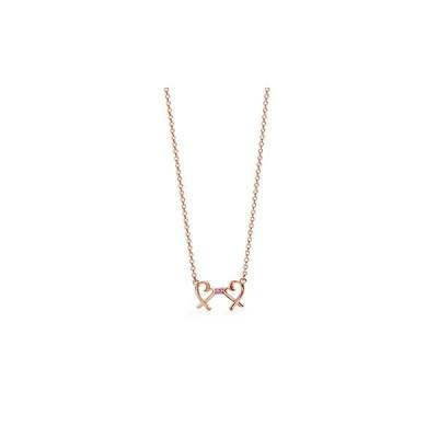 ティファニー TIFFANY ネックレス ローズゴールド 18K ピンク サファイヤ ハート