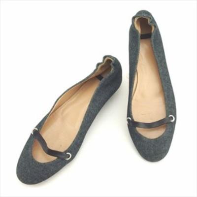 アンテプリマ パンプス シューズ 靴 ♯38ハーフ バレエ デニム ネイビー ブラック シルバー ANTEPRIMA 中古 D1888