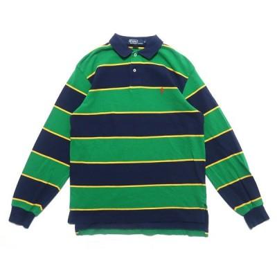 ポロラルフローレン ワンポイントロゴ ポロシャツ ボーダー 柄 ネイビー グリーン サイズ表記:M