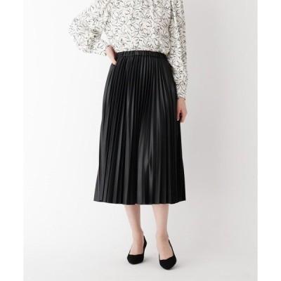 スカート 【大きいサイズあり・13号】INNOWAVE シンセティックレザープリーツスカート