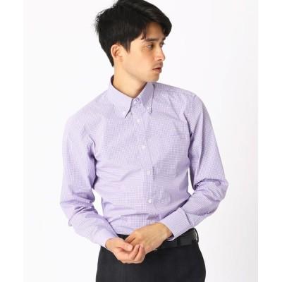 COMME CA ISM/コムサイズム 《イージーケア・抗菌防臭加工》 カラーチェック ボタンダウンカラーシャツ ライラック XL