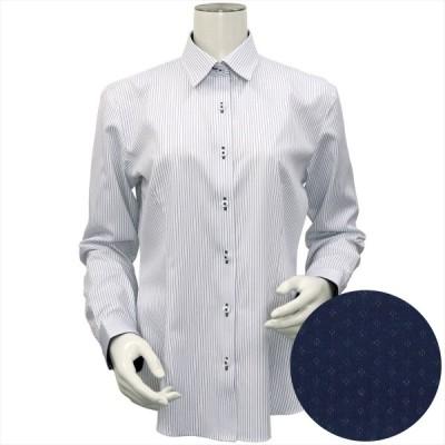 レディース ウィメンズシャツ 長袖 形態安定 HOT-2 レギュラー衿 白×ネイビーストライプ