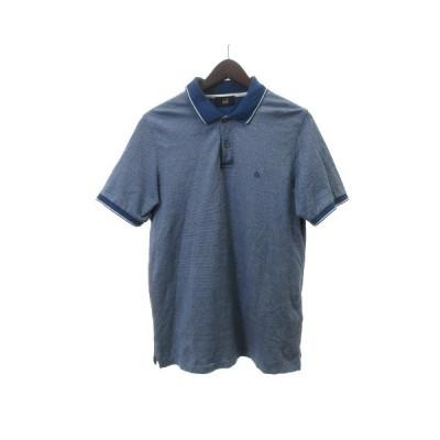 【中古】ダンヒル dunhill ポロシャツ カットソー 半袖 刺繍 コットン M 青 ブルー メンズ 【ベクトル 古着】