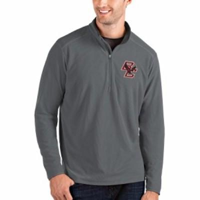 """メンズ ジャケット """"Boston College Eagles"""" Antigua Glacier Quarter-Zip Pullover Jacket - Gray/Charcoal"""