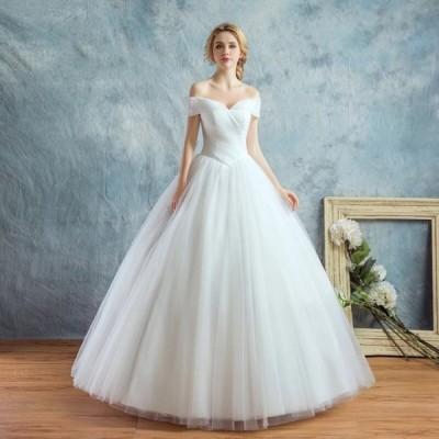 結婚式 オフショルダー オーダーサイズ可 パニエ H063b 体型カバー 白 ウェディングドレス  Aライン グローブ ベール付 高品質