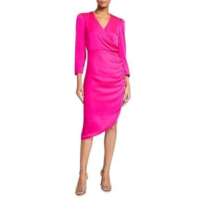 ミリー レディース ワンピース トップス Elenora Stretch Silk Ruched Faux-Wrap Dress