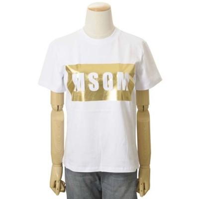 MSGM エムエスジーエム レディース Tシャツ ホワイト MDM95 298 01 WHITE イタリア製 ロゴプリント 半袖
