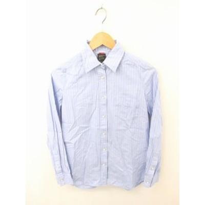 【中古】ダブルスタンダードクロージング ダブスタ DOUBLE STANDARD CLOTHING シャツ ブラウス ストライプ 長袖 綿 青 桃