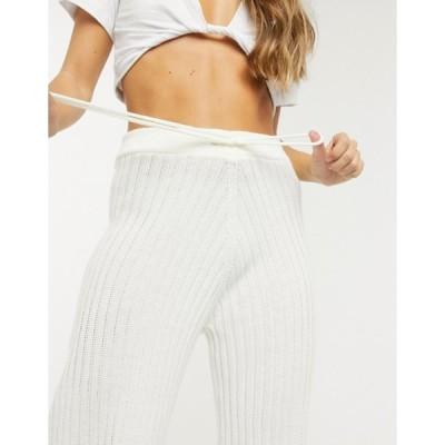 インザスタイル レディース カジュアルパンツ ボトムス In The Style x Lorna Luxe lullaby ribbed wide-leg pants in ecru matching set