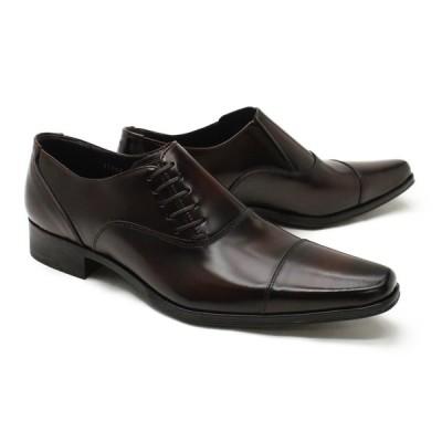 革靴 本革 ビジネスシューズ クインクラシコ QueenClassico メンズ ドレスシューズ 紳士靴 51005br ブラウン(茶色) サイドレース日本製(国産)