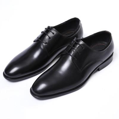 2019年new♪メンズビジネスシューズ 紳士靴 本革 レザー 牛革 ヨーロピアン★レースアップ プレーントゥ★1色 ブラック HK14