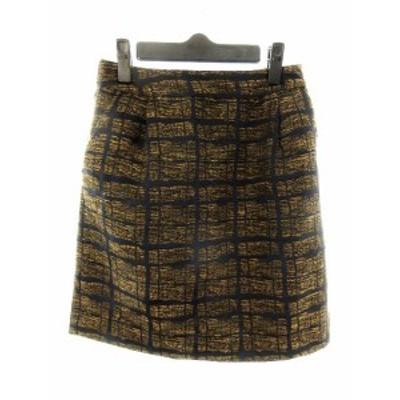 【中古】アーバンリサーチ URBAN RESEARCH スカート 台形 ミニ 総柄 F 茶 ブラウン /MO レディース