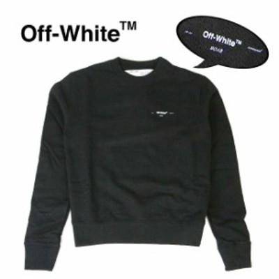 OFF-WHITE スウェット  オフホワイト メンズ スウェット長袖 ワンポイント  OFF WHITE LOGO SLIM CREWNECK SWEATSHIRT (BLACK) 【OMBA02