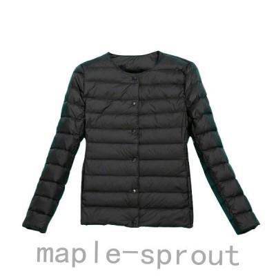 秋冬新品!ダウンジャケットレディースノーカラー軽量暖かいスリムショート丈上品ルームウェア防寒性長袖オシャレ