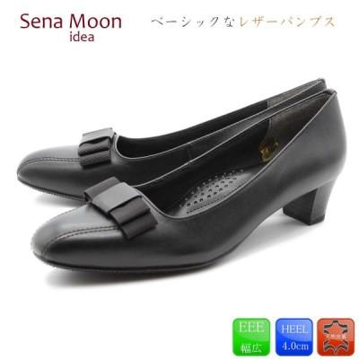 【Sena Moon (セナムーン)】 パンプス 痛くない リボン フォーマル リクルート 冠婚葬祭 ビジネス オフィス 本革 天然皮革 25-3902