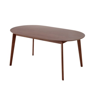 ウォルナット材の楕円形ダイニングテーブルとキルティング柄チェアのシリーズ<4人用>