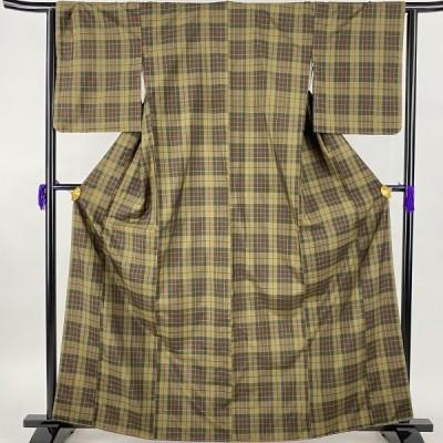 大島紬 美品 秀品 アンサンブル 格子 茶緑色 袷 身丈164cm 裄丈65.5cm M 正絹 中古