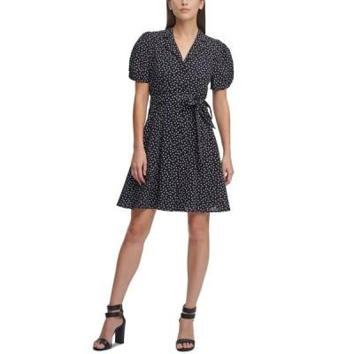ダナ キャラン ニューヨーク ワンピース トップス レディース Printed Knot-Sleeve Shirtdress Black/Cream