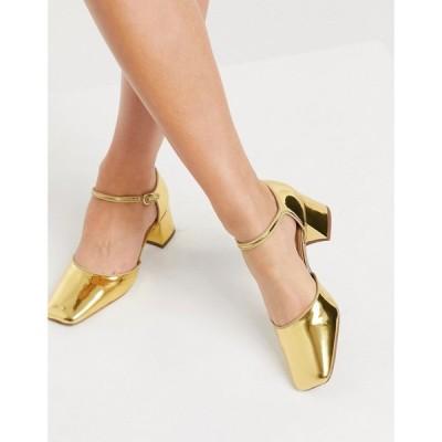 エイソス ASOS DESIGN レディース ヒール スクエアトゥ シューズ・靴 Asos Design Spirit Square Toe Mary Jane Mid Heels In Gold