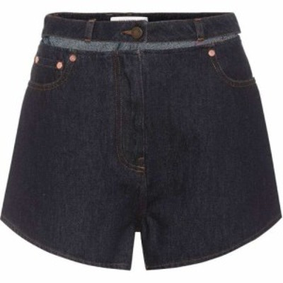 ヴァレンティノ Valentino レディース ショートパンツ デニム ボトムス・パンツ Lipstick embroidered denim shorts Blue
