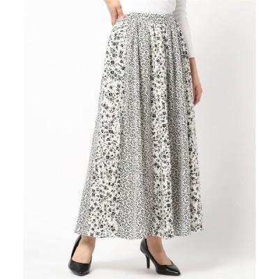 スカート ポプリン 花柄 パターン切替スカート