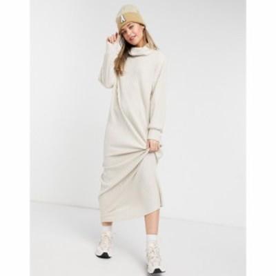 エイソス ASOS DESIGN レディース ワンピース マキシ丈 ワンピース・ドレス Maxi Long Sleeve Ribbed Dress With Roll Neck In Cream ク