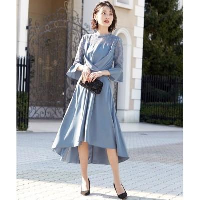 ドレス レース切替 フレア袖のクロスベルトドレス / 結婚式ワンピース パーティードレス 成人式