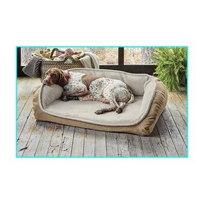 Orvis Memory Foam Bolster Dog Bed with Fleece/Large Dogs 60-90 Lbs, Khaki, Large【並行輸入品】