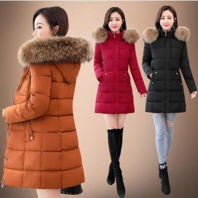 高品質 冬服 ダウンジャケット レディースダウンコート フード付き ロングコート アウター防寒厚手 暖かい ロングコート 軽量 着痩せ 無地 大きいサイズ/ファー